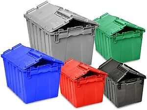 PLASTIC TOTES WITH LIDS, USED, IN MINT CONDITION - HALF PRICE