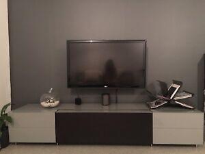 Modern glass entertainment unit / tv console. Edgecliff Eastern Suburbs Preview