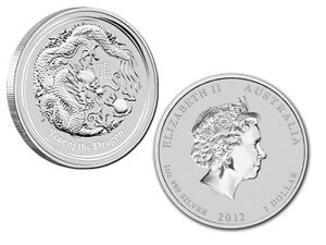 Lot piece en argent dragon lunar/silver bullion 2012 1&2 oz
