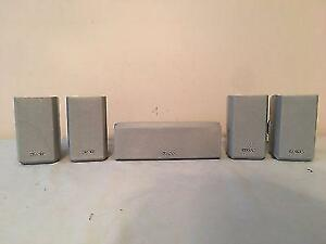 5 Sony Surround Sound Speakers (4) SS-MSP2 Surrounds & (1)SS-CNP2 Center w 4 Mounts  Works Great