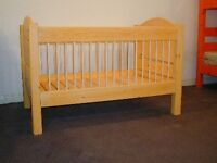 Wooden cot / cot bed / single bed and organic mattress