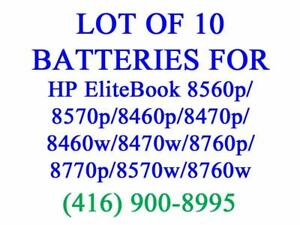 LOT OF 10 X GENUINE HP Battery for 8560p/8570p/8460p/8470p/8460w/8470w/8760p/8770p/8570w/8760w/8770w Batteries Original