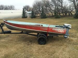 14' Lund Boat With a 9.9 hp Evinrude