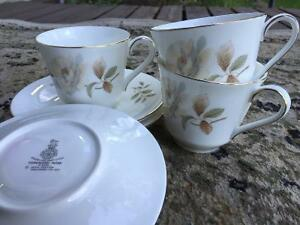 Royal Doulton Set of 3 tea cups and saucers (Yorkshire Rose)