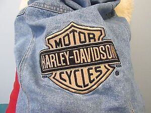 Harley Davidson Denim Dog Vest Jean Jacket Biker Motorcycle Logo