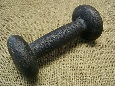 Vintage Cast Iron Dumbell > Antique Old Weights 3#