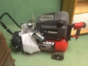Air compressor complete with impact wrench nail gun paint spray