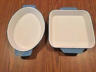TWO STONEWARE BLUE AND WHITE BAKING DISHES - ONE OVAL, ONE SQUARE - NEW