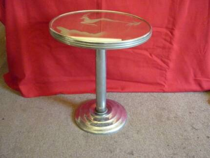 Art Deco Mirrored Round Side Table