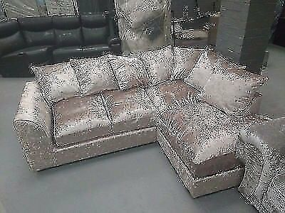 4c688895b6b 2019 DEALS Fast Delivery New comfy   Large Crush velvet sofas. New corner  style or 3seater + 2Seater