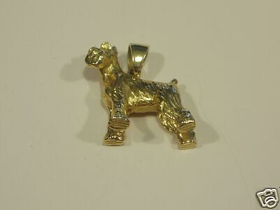 SCHNAUZER DOG PENDANT  14 KT SOLID GOLD  3-D  BRAND NEW