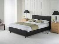 Limited Offer !! Double Leather Bed Frame With Mattress -- Order Now - Black / Brown