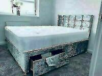 🔵💖🔴DRAWERS RANGE🔵💖🔴CRUSHED VELVET DIVAN BED BASE SINGLE/DOUBLE/KING SIZE DIFF MATRESSES