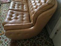 vintage leather tan 3 piece sofa & armchairs suite