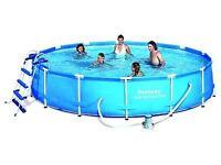 """Bestway 14ft x 33"""" Steel Pro Metal Frame Round Swimming Pool Package"""