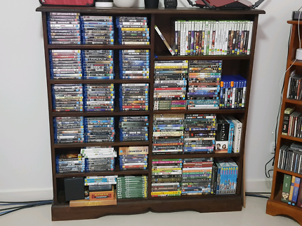 Dark wood DVD and blu-ray rack