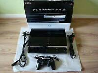 PS3 console 60gb compatible one plays ps1/ps2 /ps3 games/in original box with games/cash or swaps