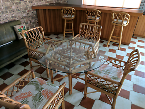 Bamboo Dining Table, Chairs & Bar Stool Set Monterey Rockdale Area Preview