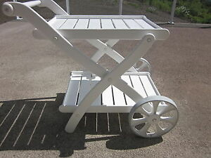 LIKE NEW, KETTLER TIFFANY 2 WHEEL SERVING CART W/REMOVABLE TRAYS