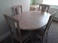 Limed Oak extendable dining table and chairs