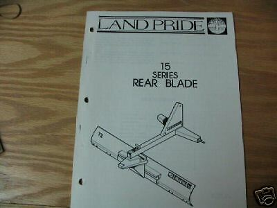 Land Pride 15 Series Rear Blade Operator Parts Manual