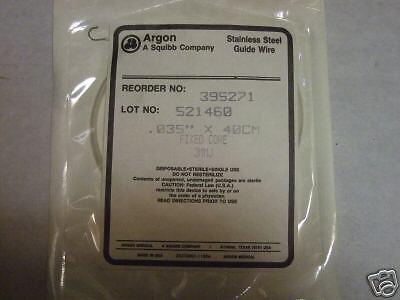 5 Guide Wire Argon .035 X 40 Cm Fixed Core No. 395271 Lot Of 5