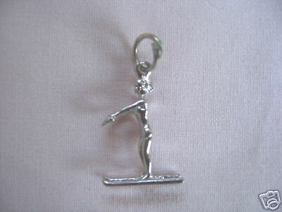 STERLING DETAILED LADY/MAN SKIING/SKIER CHARM/PENDANT