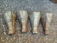 Four magna cast iron bath feet 1930's