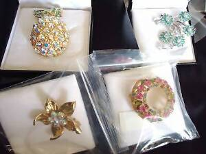 4 Stunning Swarovski Crystal Brooches - Brand new