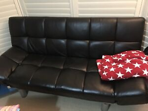 Black Faux Leather Couch Recline Bed Cranbourne North Casey Area Preview
