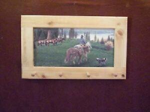 Cowboy & Dog Art Framed Peg-Board
