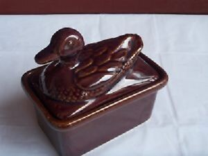 2 Vintage Rare- Brown Glazed Pate/Cheese/butter dish with lids!