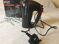 RUSSELL HOBBS DESIRE HAND MIXER 300W 5x speed levels Black and Red Beater &Dough FREE POSTAGE