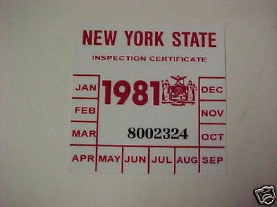 new york 1981 registration inspection sticker windshild