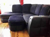 Harvey's Black Fabric and Leather Corner Sofa