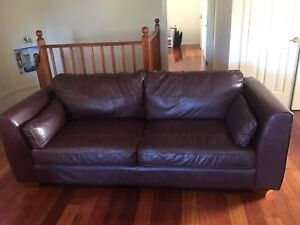 brown leather lounge Epping Ryde Area Preview