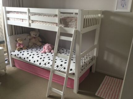 Bunk Beds, white wood bed on bed