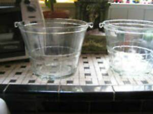 """2 Vintage 10"""" Glass Buckets( thick glass)--$10.each"""