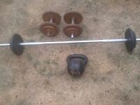 BARBELL, DUMB-BELLS AND 16KG KETTLEBELL £45 free local Nottm. delivery