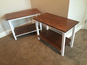 2 white and stained end tables