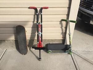 Razor scooter, blind skateboard, pogo stick