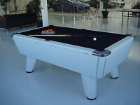 Supreme White Pool Table with black felt- Good condition