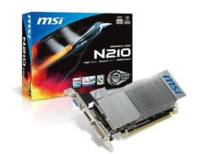MSI GeForce GT 210 1GB Graphics Card Low Profile PCI-Express 2.0x16 589MHz HDMI