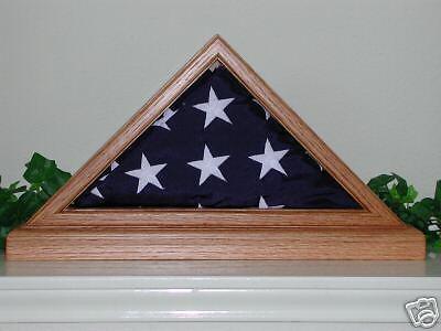 US AMERICAN SOLID LIGHT OAK 3X5 W BASE FLAG DISPLAY CASE (Us Flag Display Case)