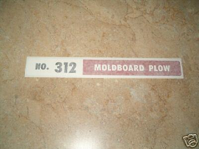 International No. 312 Moldboard Plow Vinyl Decal