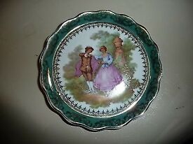 "Vintage C P Limoges pin tray with fluted rim. 5"" in diameter"