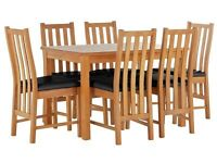 New Ashdon Table With 6 wooden Chairs Dining Set