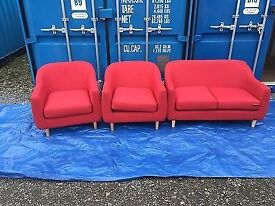 EX DISPLAY(MADE. COM)TWO SINGLE RED ARMCHAIRS + TWO SEATER RED SOFA READ DESCRIPTION £699