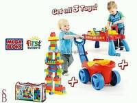 Mega bloks wagon, table and blocks