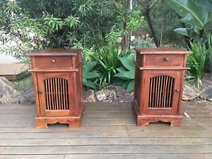 2 x Wooden Bedside Tables Tallai Gold Coast City Preview